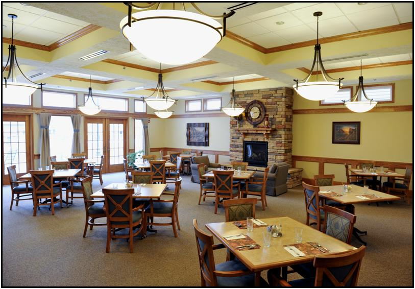 Courtyard terrace dining room nebraska assisted living for Terrace senior living