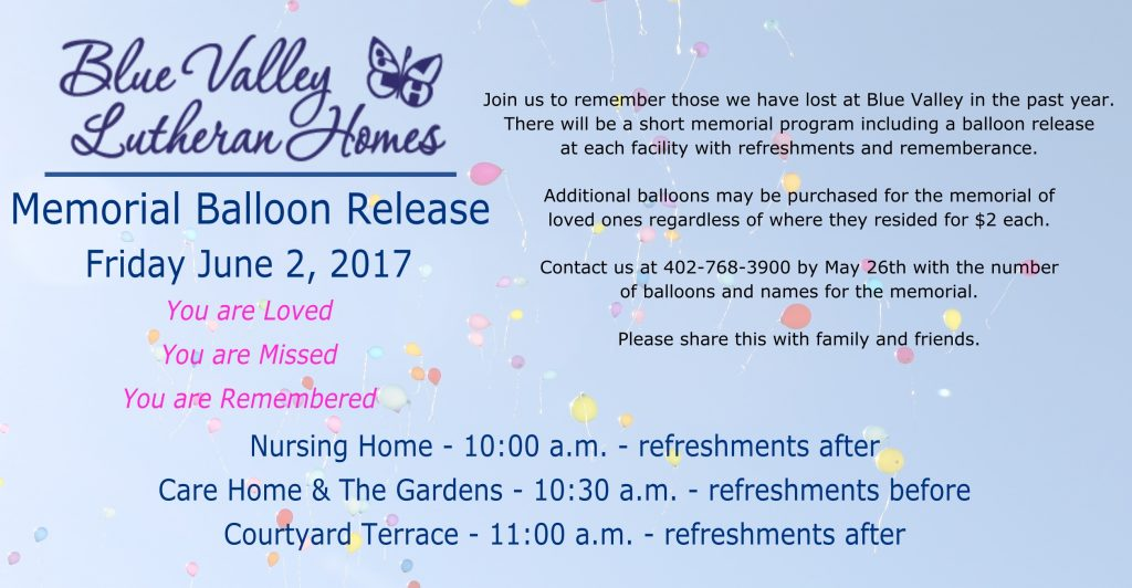 Balloon Release 2017 Blue Valley Lutheran Home