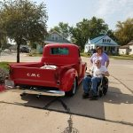 Resident enjoying the car show at Blue Valley Lutheran Homes